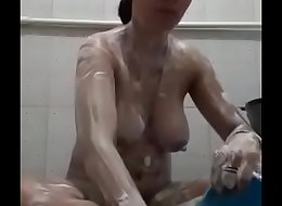 Hot desi indian wife taking shower in bathroom